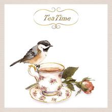 Vintage Invitation Card With Retro Design - Pretty Watercolor Bird, Tea Cup, Rose Flower