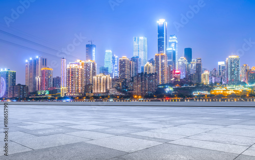Poster Chicago Road ground and Chongqing urban architectural landscape skyline