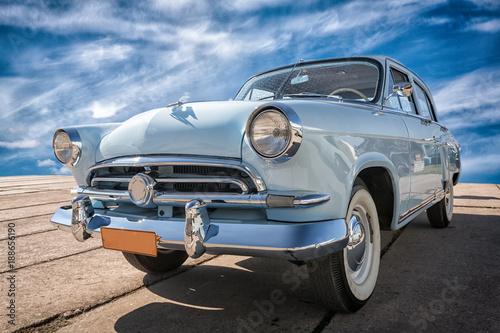 Keuken foto achterwand Vintage cars Vintage car staying at sunset.