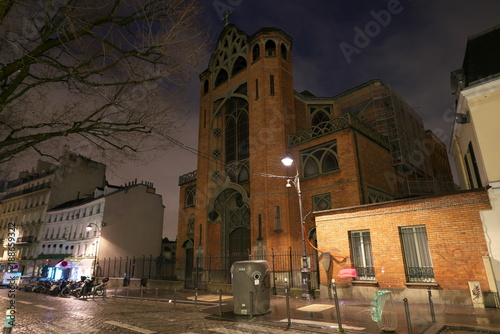 Paris,France-January 18, 2018:Saint-Jean des Abbesses church is a Catholique church near Abbesses place Canvas Print
