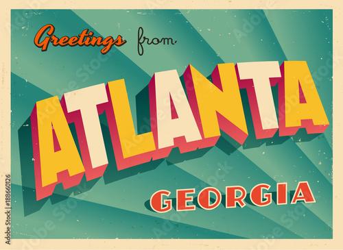 Photo Vintage Touristic Greeting Card From Atlanta, Georgia - Vector EPS10