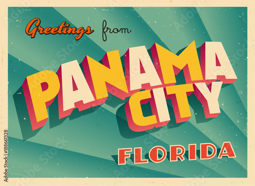 Vintage Touristic Greeting Card From Panama City, Florida - Vector EPS10 Poster Mural XXL