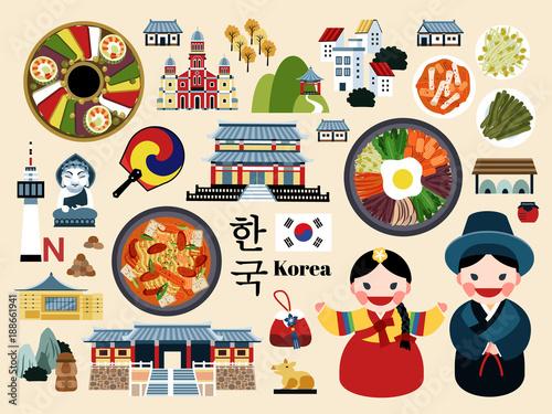 Fotomural  Lovely Korea travel concept set