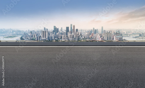 Spoed Foto op Canvas Grijze traf. Road ground and Chongqing urban architectural landscape skyline