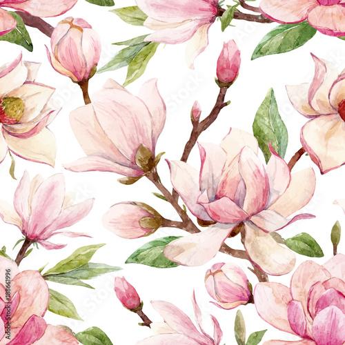 Watercolor magnolia floral vector pattern © zenina