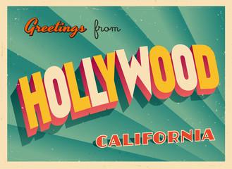 Rocznika Turystyczny kartka z pozdrowieniami Z Hollywood, Kalifornia - wektor EPS10. Efekty grunge można łatwo usunąć, aby uzyskać zupełnie nowy, czysty znak.