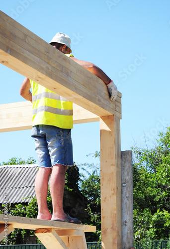 Roofer Building Wood Trusses Roof Frame House Construction