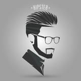 Fototapeta Sport - Hipster men hair style symbol on gray background