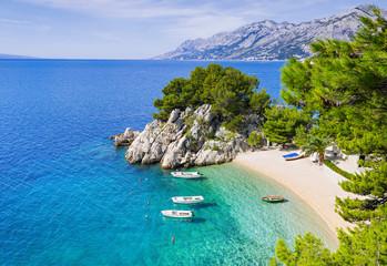 Beautiful beach near Brela town, Dalmatia, Croatia. Makarska riviera, famous landmark and travel touristic destination in Europe