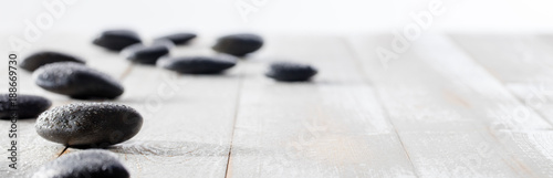 Recess Fitting Zen massage black pebbles for spirituality, ayurveda, beauty spa or yoga