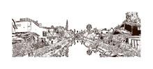 Los Angeles City In California. Hand Drawn Sketch Illustration In Vector.