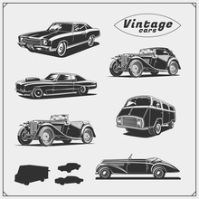 Collection Of Retro Muscle Cars And Cars Service.
