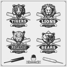 Set Of Cricket Club Emblems, Labels, Badges And Design Elements.