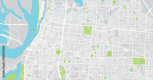 Urban Vector City Map Of Memphis Tennessee Usa Buy This Stock