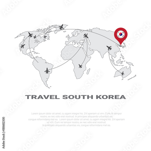 Travel To South Korea Poster World Map Background Tourism ...