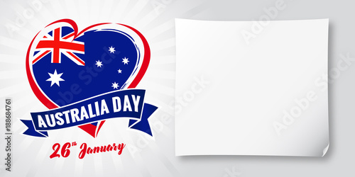 Australia day 26 January, flag and heart banner. Vector illustration for 26th january Happy Australia day lettering banner with heart national flag and text on stripes background