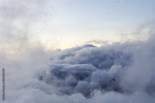 View of clouds from mountain Roque Nublo