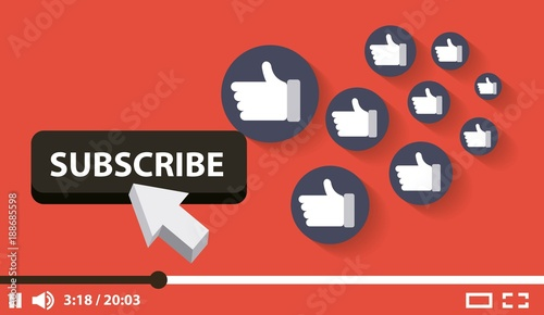 Fotografie, Obraz  suscribe video digital likes followers vector illustration
