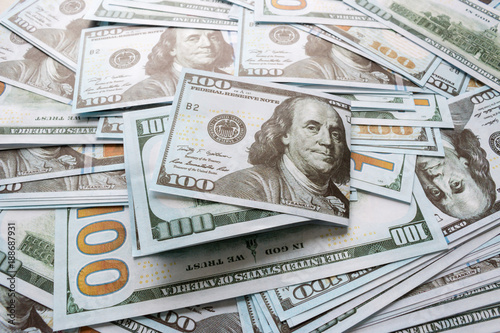 Fotografía  cash american dollars background close up