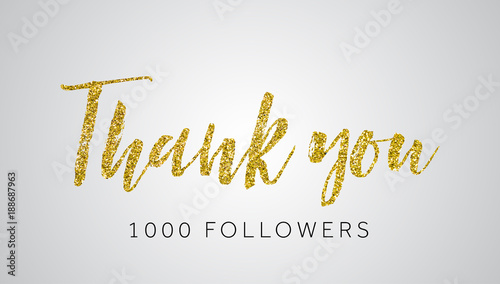 Fototapeta Thank you 1000 follwers gold glitter social media banner