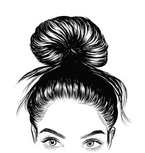 Hand-drawn Beauty Woman With Luxurious Cute Bun Hairstyle. Idea For Card Typography Vector.Wedding Style