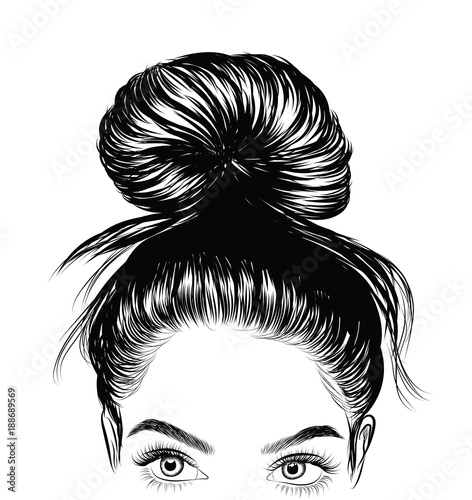 Hand-drawn beauty woman with luxurious cute bun hairstyle. Idea for card typography vector.Wedding style Wall mural