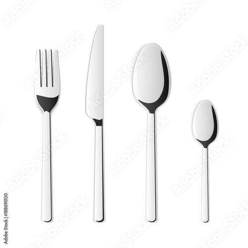Creative vector illustration top view cutlery set of silver fork spoon knife isolated on  sc 1 st  Adobe Stock & Creative vector illustration top view cutlery set of silver fork ...