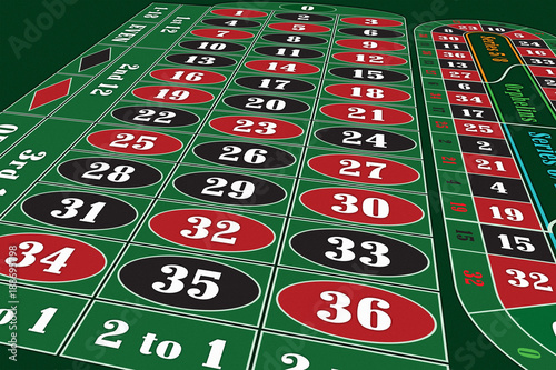 European Roulette Table perspective raster illustration плакат
