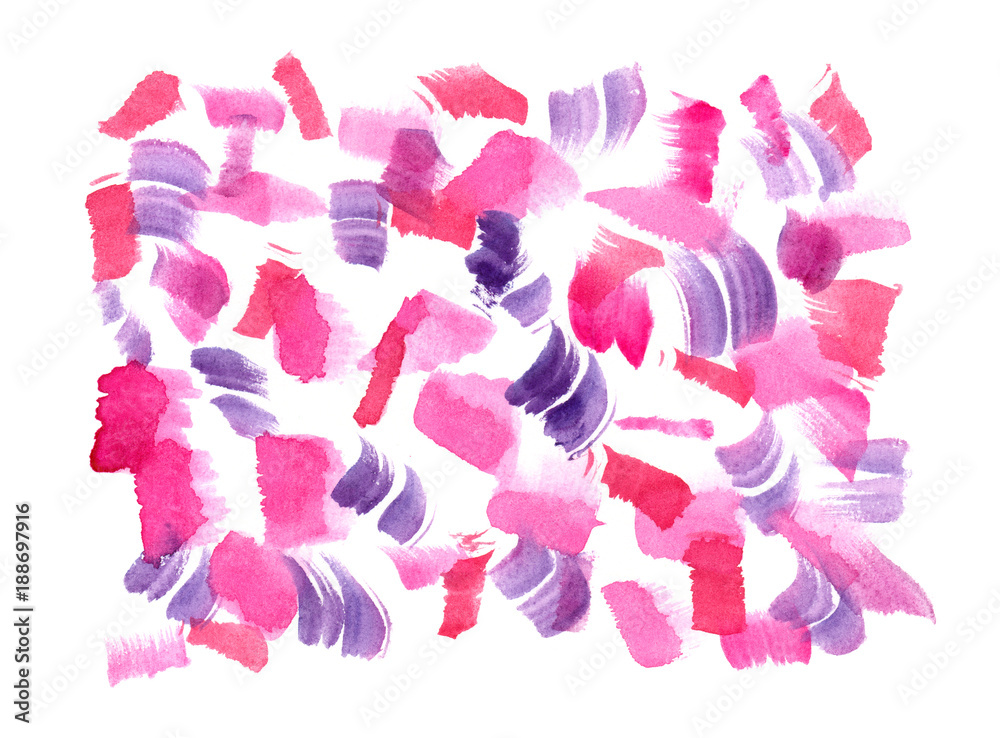 Small pink and purple brush strokes painted in watercolor on clean white background