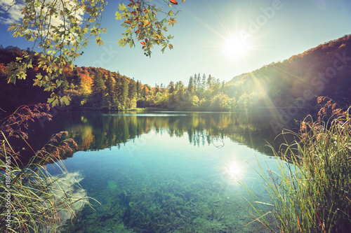 Fotobehang Meer / Vijver lake in forest of Croatia