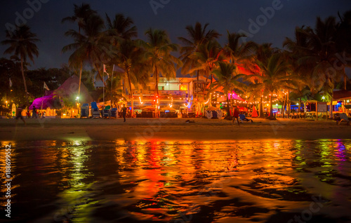 Fotografie, Obraz  Night time (and party time) along Cabarete, a beautiful beach of the Dominican R