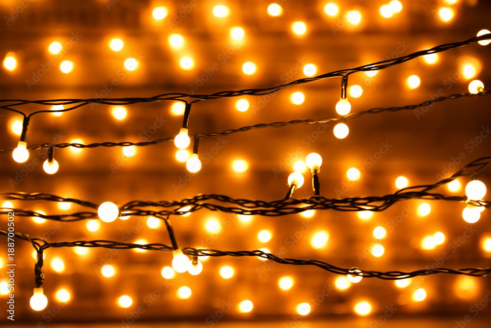 Fototapety, obrazy: Blurred christmas lights on dark background