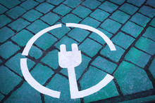 Electric Car Charging Sign On ...