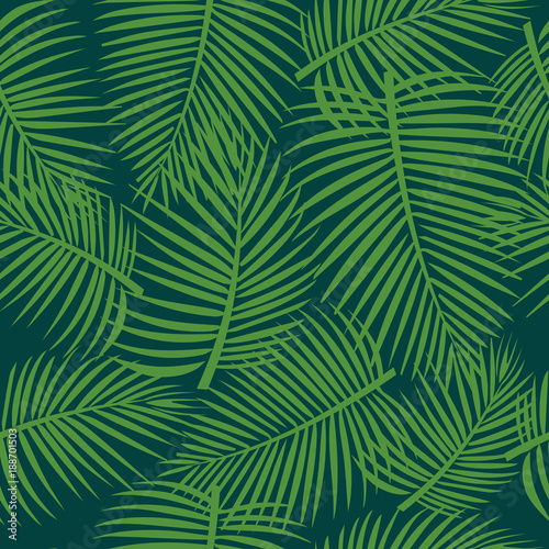 Türaufkleber Künstlich Seamless tropical pattern. Green palm leaves ornament for textiles. packaging, Wallpapers, covers.