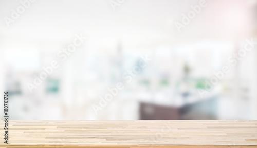 Foto  Wooden worktop on blur background