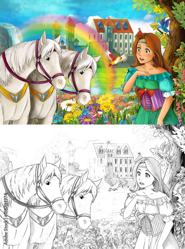 Fotobehang Zwavel geel cartoon scene with young princess watching two white horses near beautiful medieval castle waterfall and rainbow with coloring page illustration for children