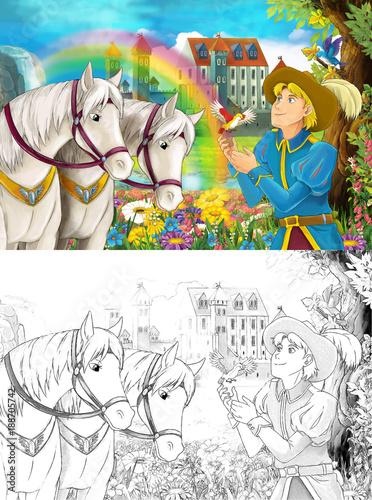 Fotobehang Zwavel geel cartoon scene with prince or king near some beautiful rainbow waterfall and medieval castle illustration for children