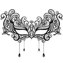 Beautiful Lace Masquerade Mask Isolated On White Background