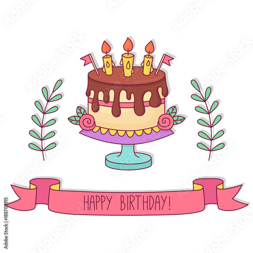 Birthday Cake Greeting Card Template Buy This Stock Vector And