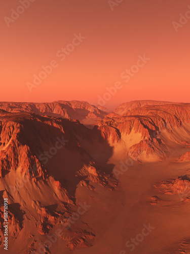 Foto op Aluminium Koraal Canyon on Mars with Red Sky - science fiction illustration