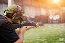 Man Shooting On An Outdoor Sho...