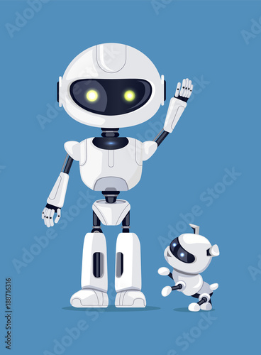 Photo Robot with Raised Arm and Dog Vector Illustration