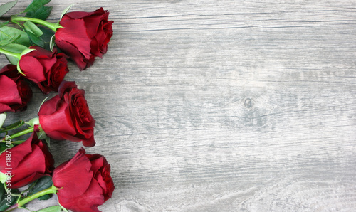 Beautiful Red Roses Still Life Over Rustic Wooden Background Flowers Border Shot From Above