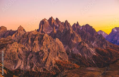 Poster Rose clair / pale Italian Dolomites sunset