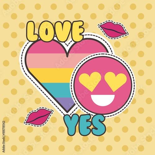 Staande foto Kinderkamer cute patches badge love yes heart smile fashion vector illustration