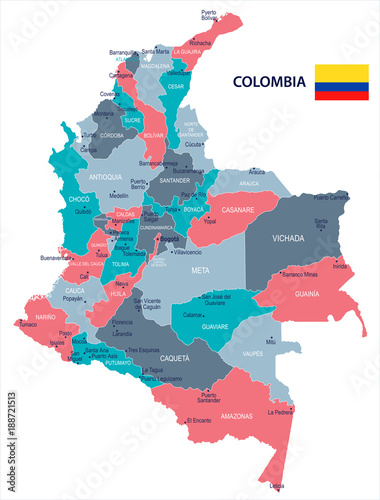 Fotografie, Obraz  Colombia - map and flag - Detailed Vector Illustration