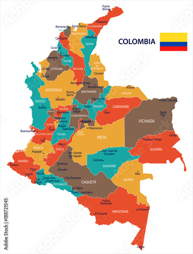 Fototapeta  Colombia - map and flag Detailed Vector Illustration