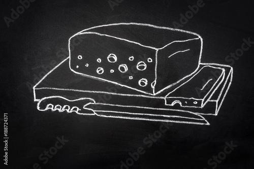 Hand Drawn Line Art Chalk Doodle Illustration On Blackboard Chunk Of