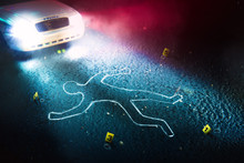 Crime Scene With Body Outline,...