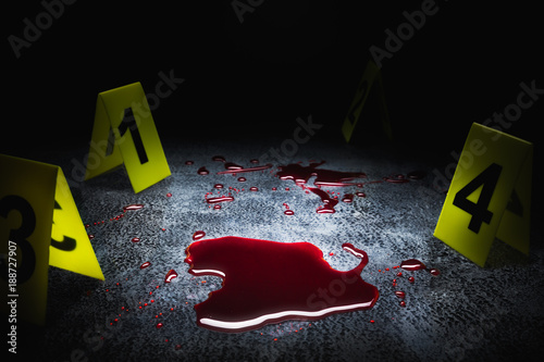 Fotografie, Tablou  evidence markers on the floor with blood puddle, high contrast image